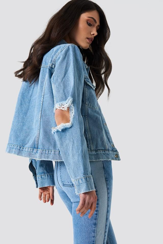 Cut Out Sleeve Denim Jacket NA-KD.COM