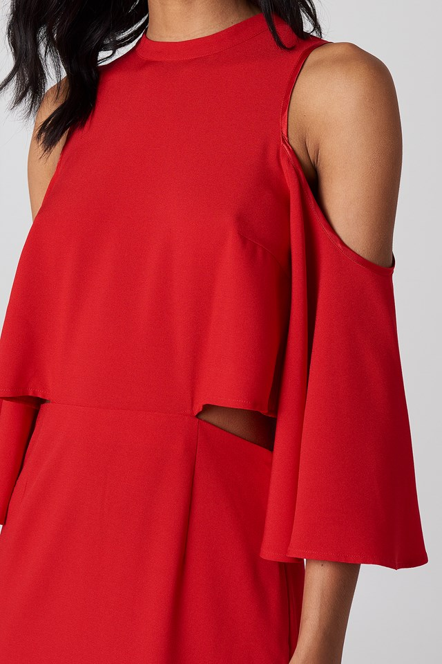 Cut Out Tied Neck Dress Red