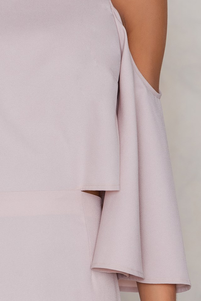 Cut Out Tied Neck Dress Light Dusty Pink
