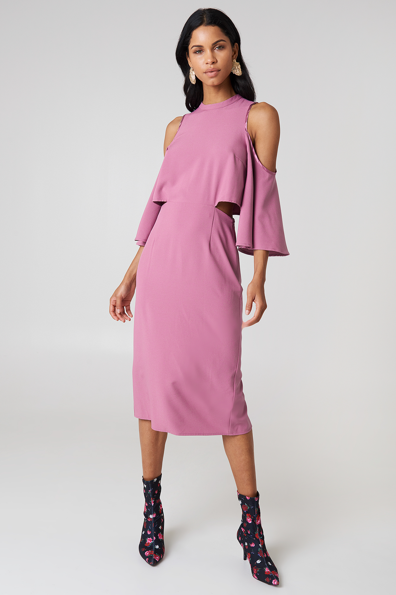 NA-KD Cut Out Tied Neck Dress - Party Dresses - Purple