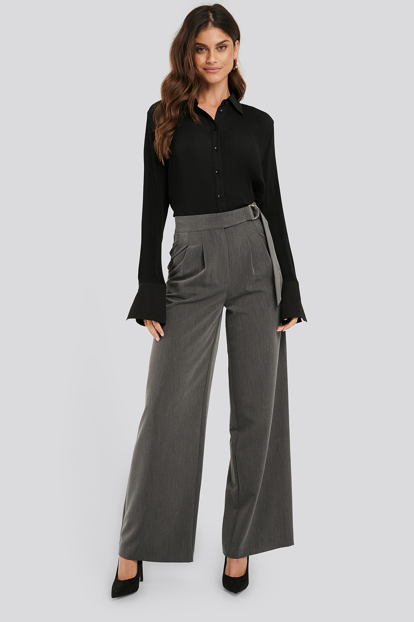 NA-KD Classic D-ring Belted Suit Pants - Grey