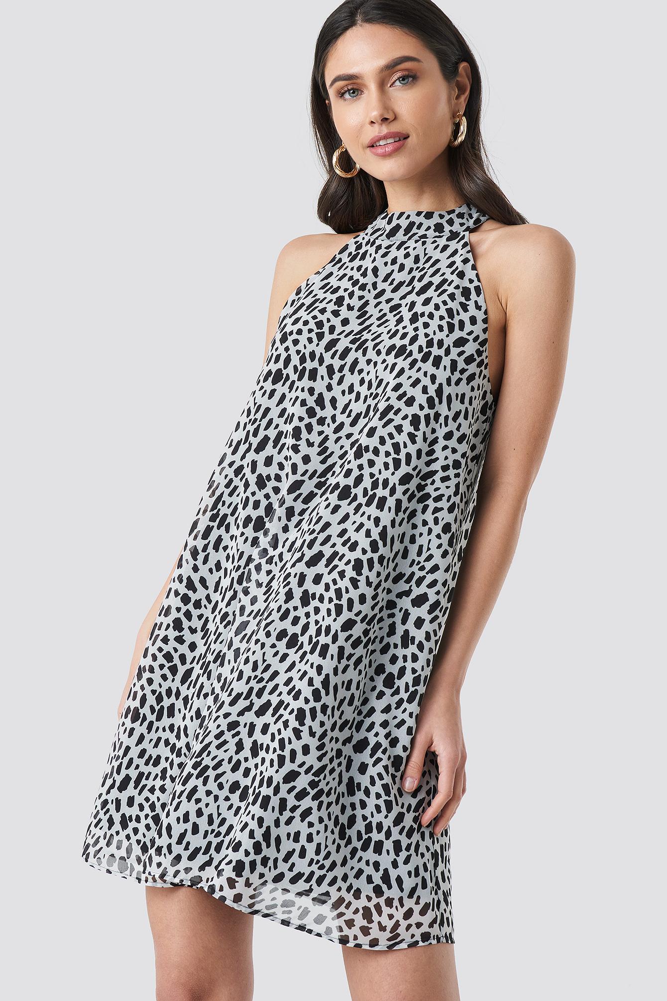 Dalmatian Print Halterneck Swing Dress NA-KD.COM