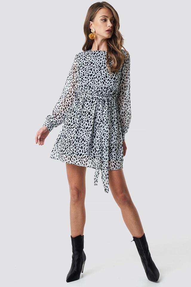 Dalmation Spots Print Dress Black/White