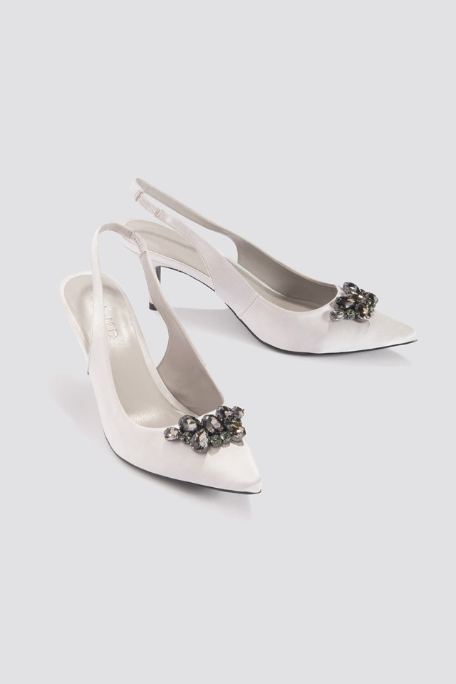 Dark Embellished Kitten Heel Pumps Silver