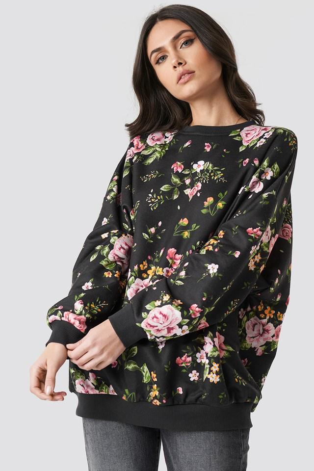 Dark Floral Batwing Sweater Black