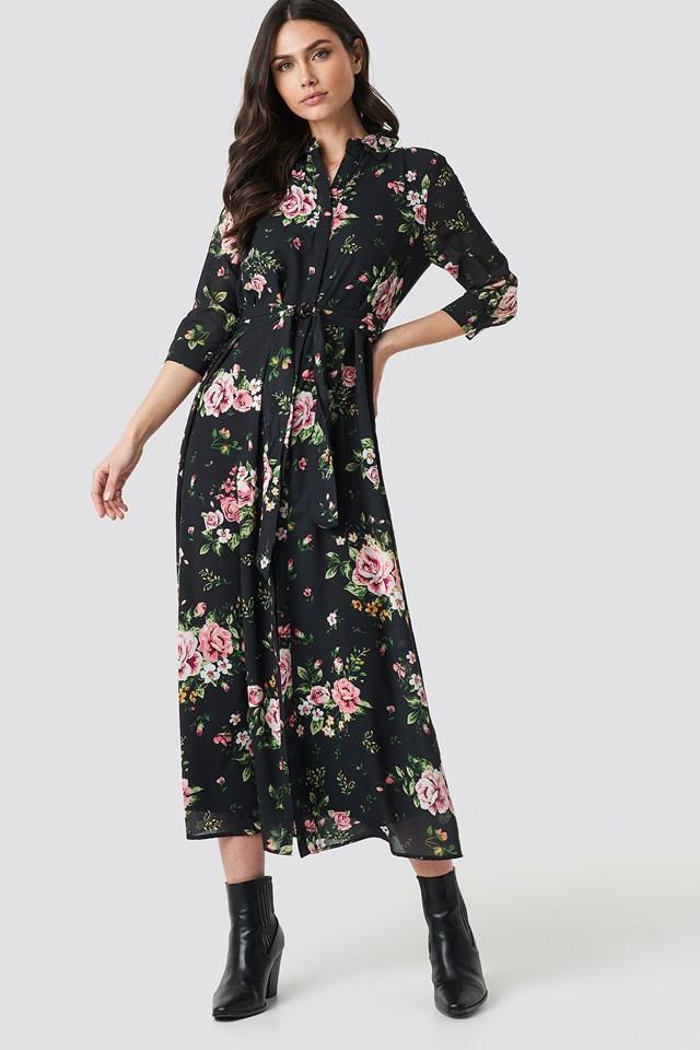 Dark Floral Maxi Dress Flower Comb