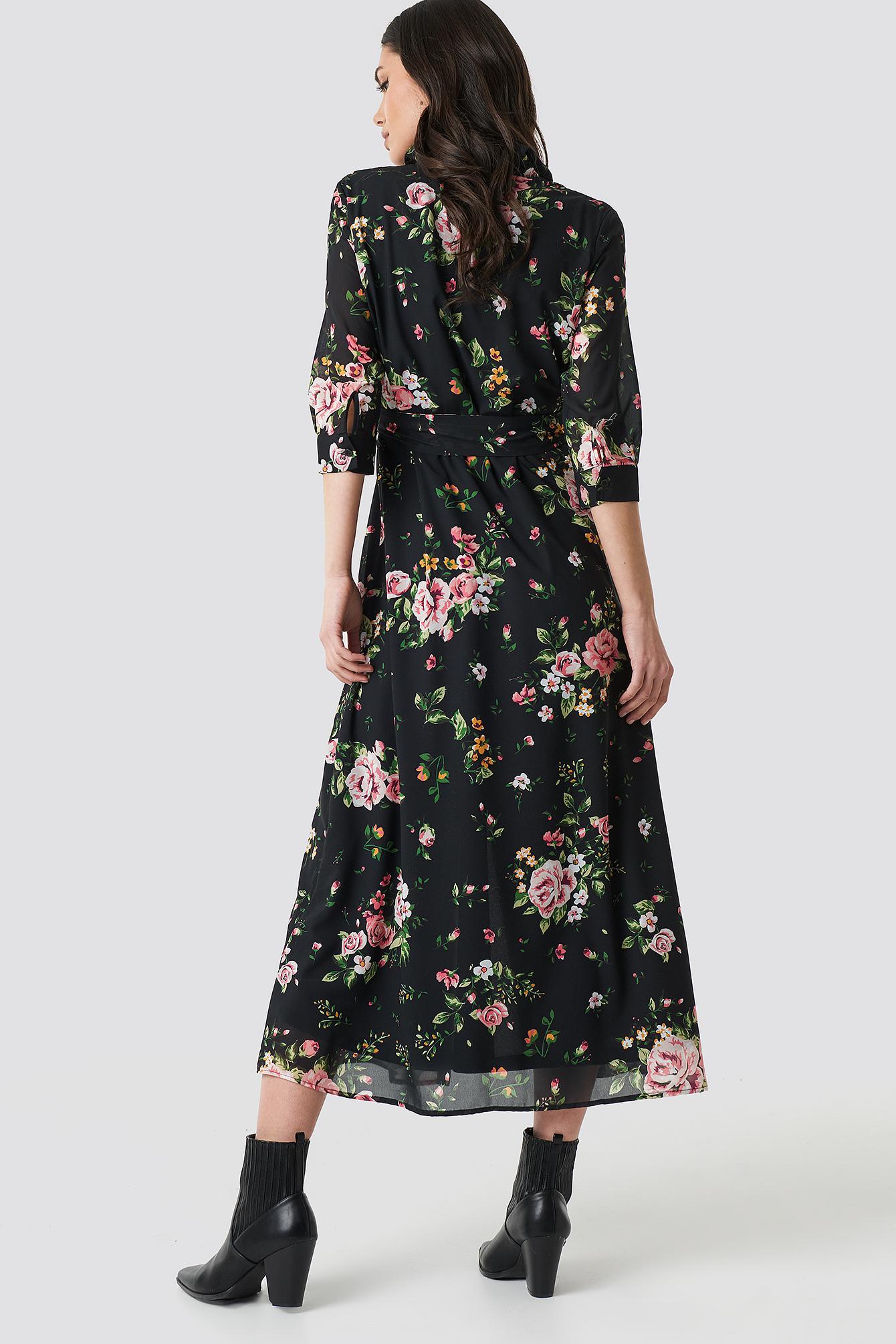 Dark Floral Maxi Dress NA-KD.COM