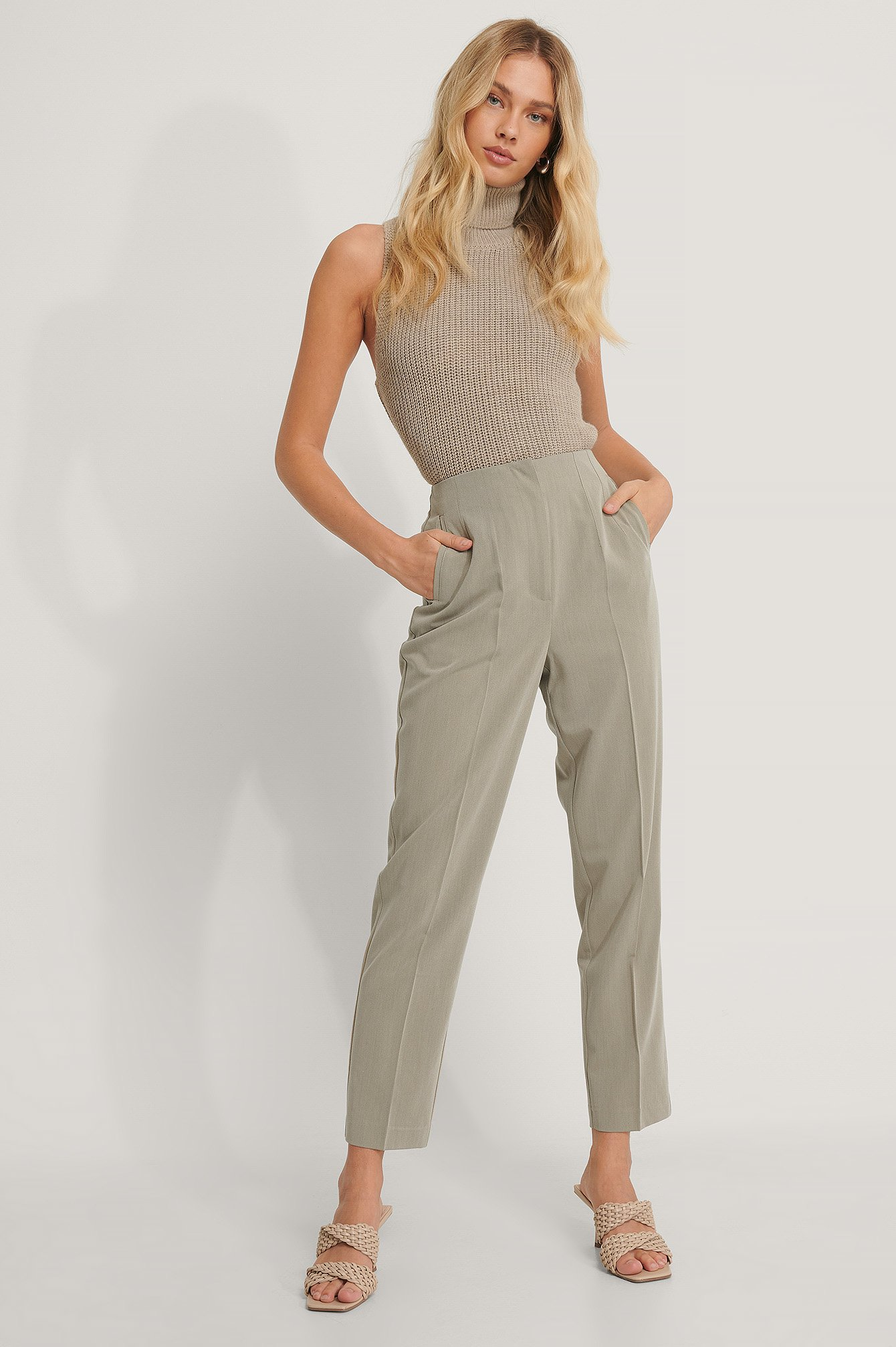 Dusty Light Green Darted Pants