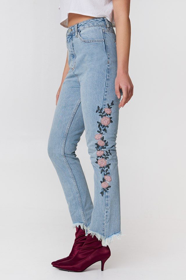 Embroidered Ripped Bottom Jeans Light Blue Denim
