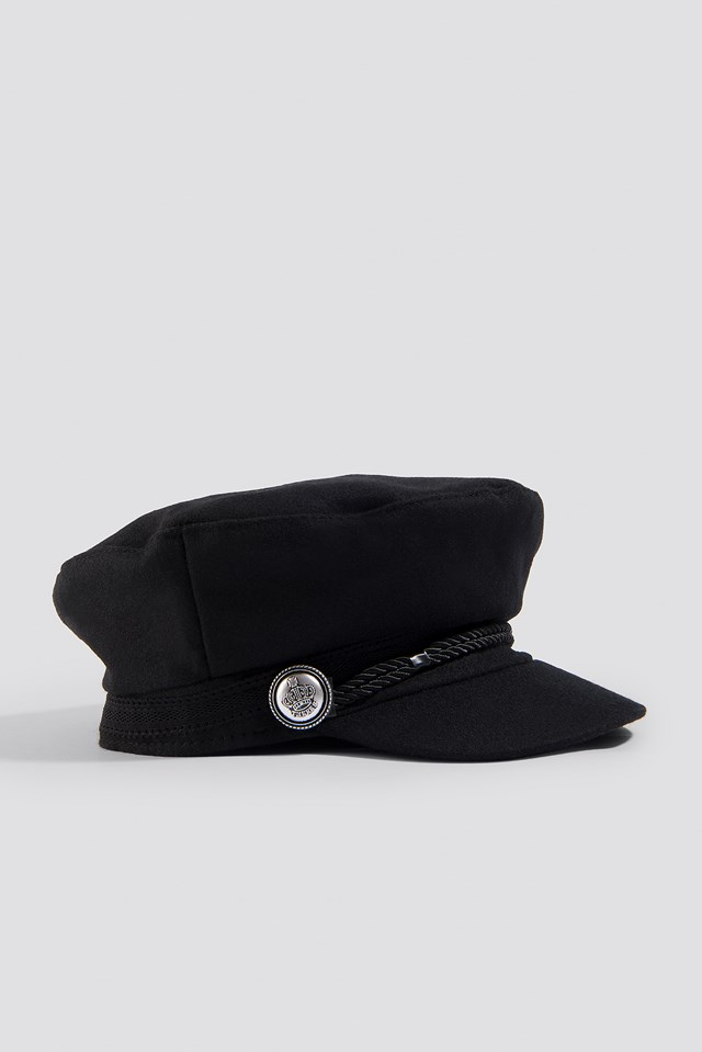 Decorated Captains Cap Black