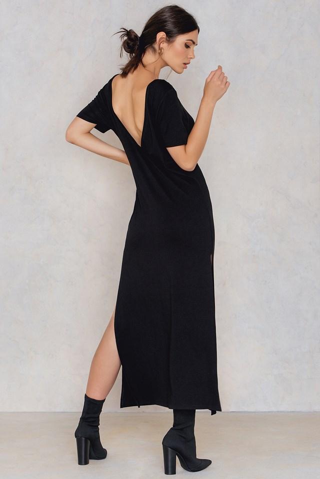 Deep Back Ankle Dress Black