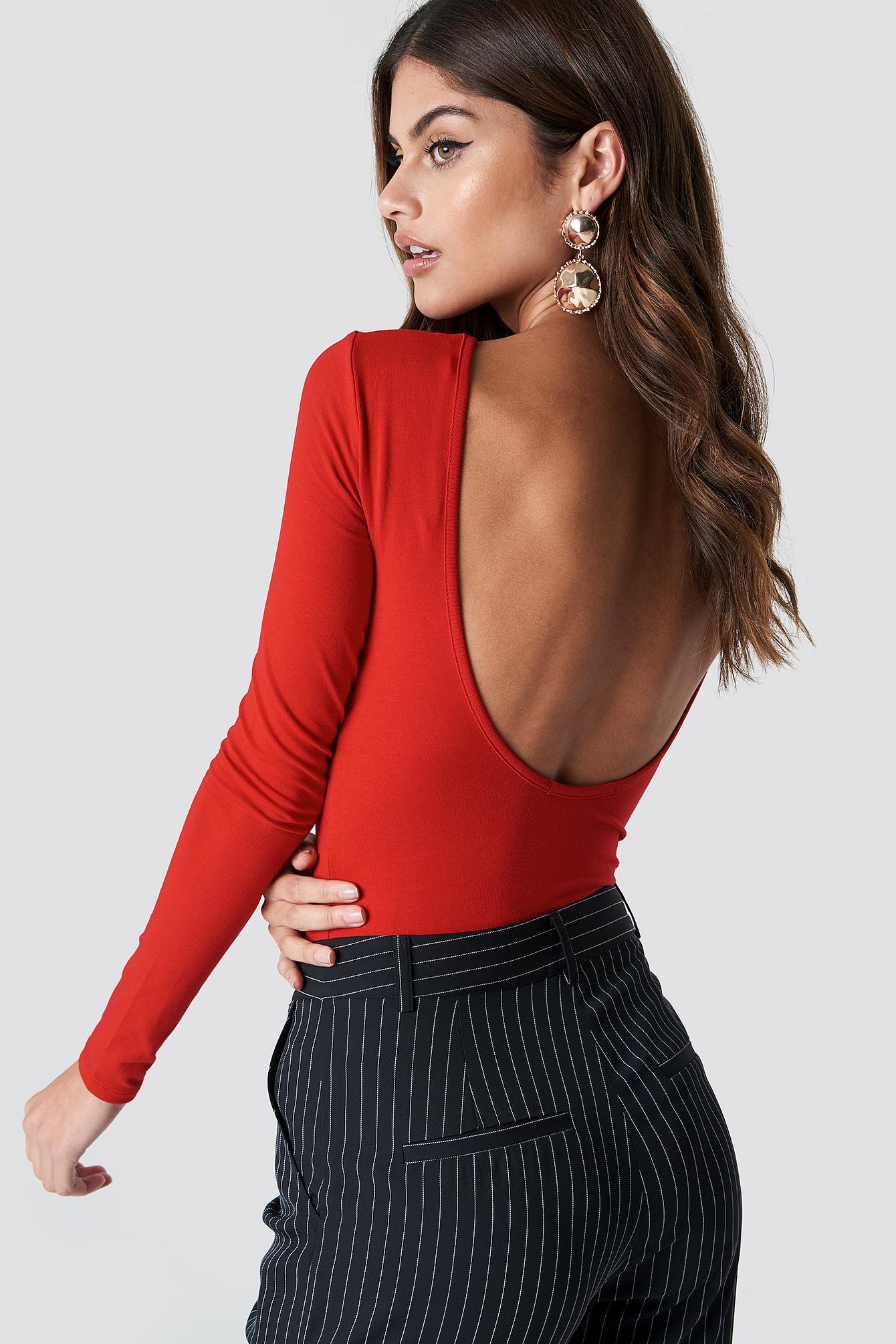 na-kd basic -  Deep Back Body - Red