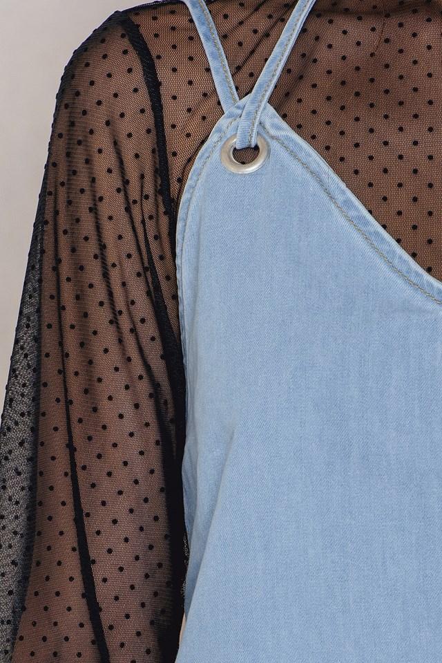 Deep Back Denim Dress NA-KD.COM