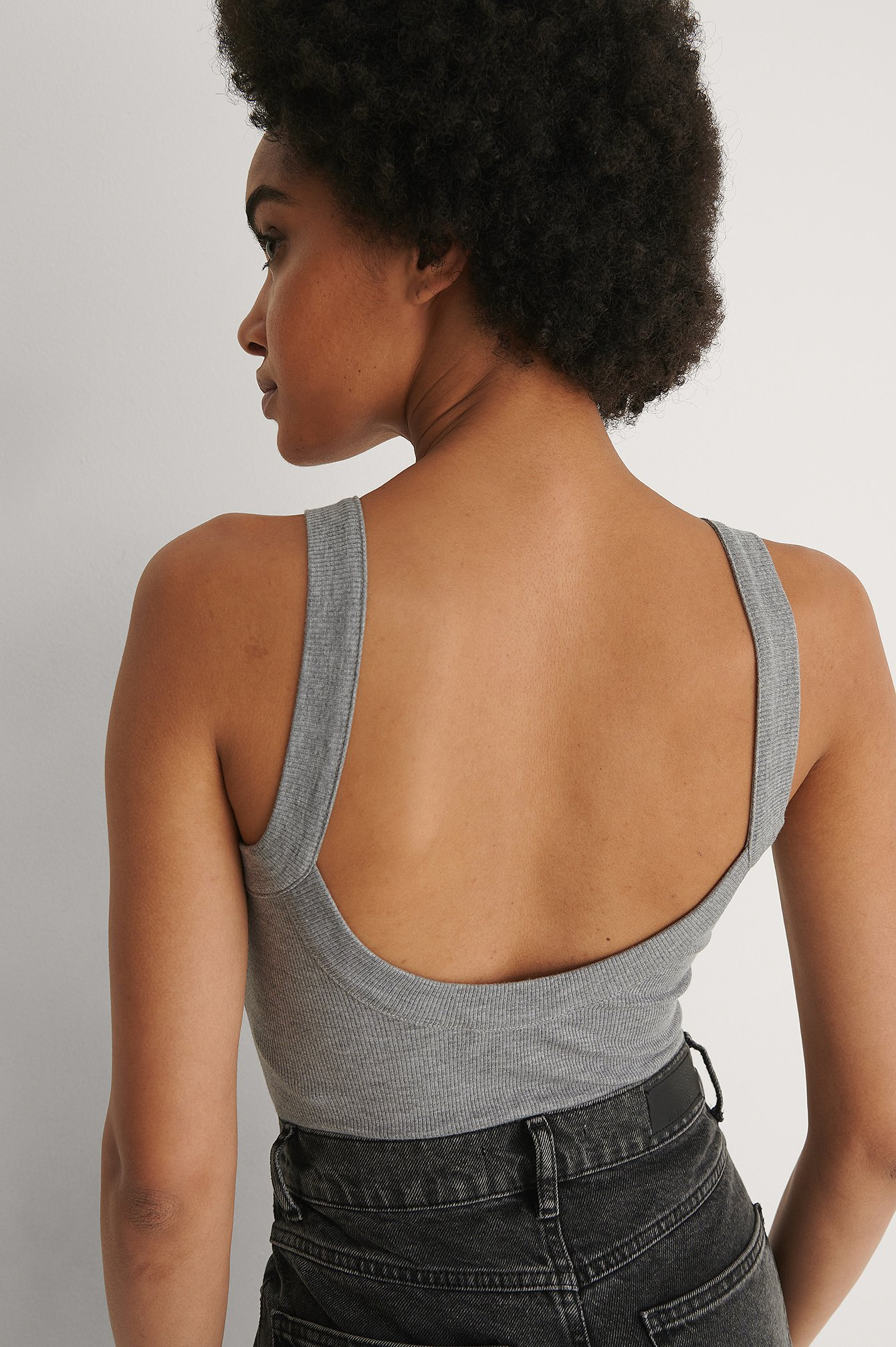 na-kd -  Recycelt Body Mit Tiefem Rückenausschnitt - Grey