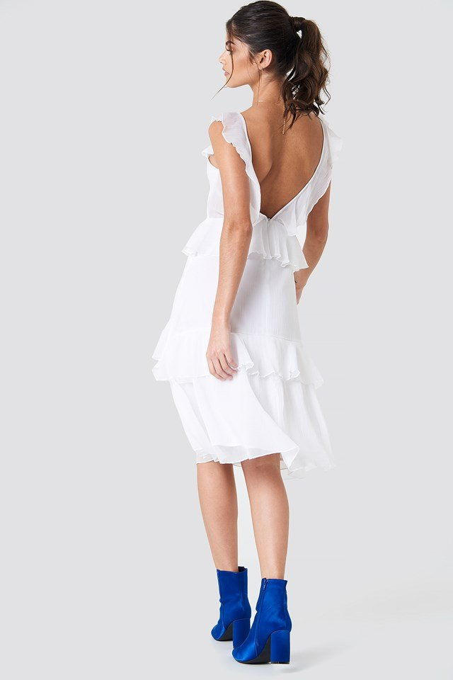 Deep Back Frill Chiffon Dress NA-KD Boho