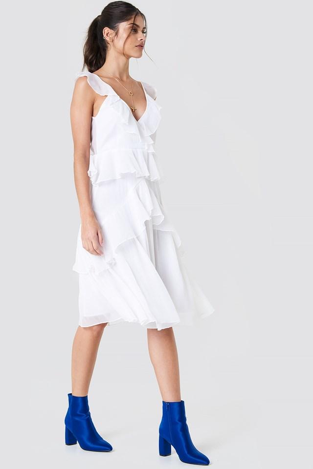 Deep Back Frill Chiffon Dress White