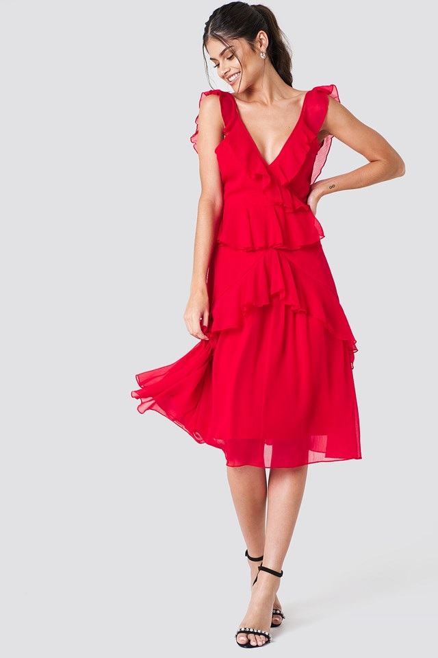 Deep Back Frill Chiffon Dress NA-KD.COM