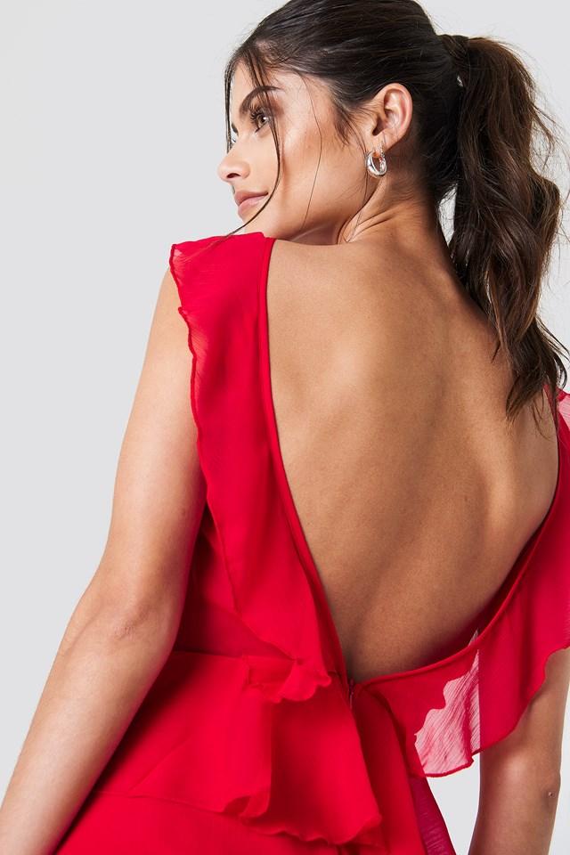 Szyfonowa sukienka z odkrytymi plecami Red