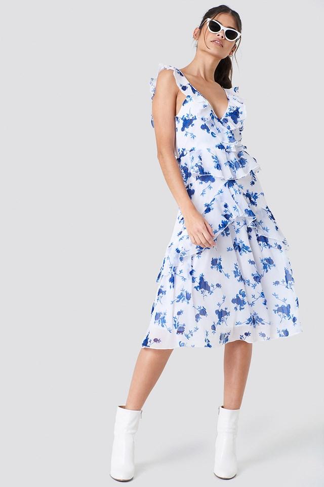 Deep Back Frill Chiffon Dress White/Blue Flowers