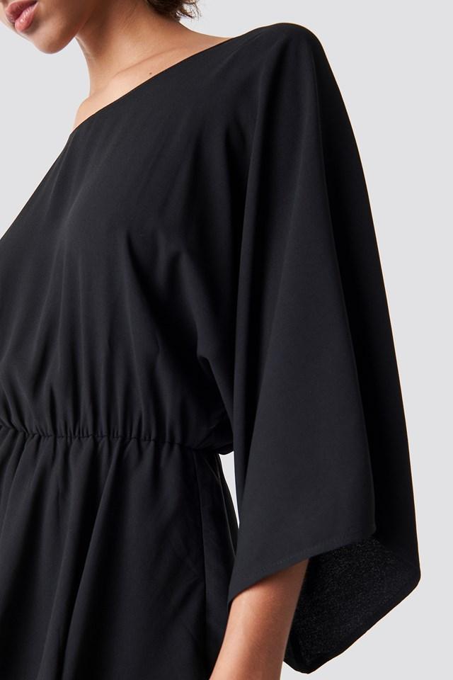 Deep Back Frill Midi Dress Black