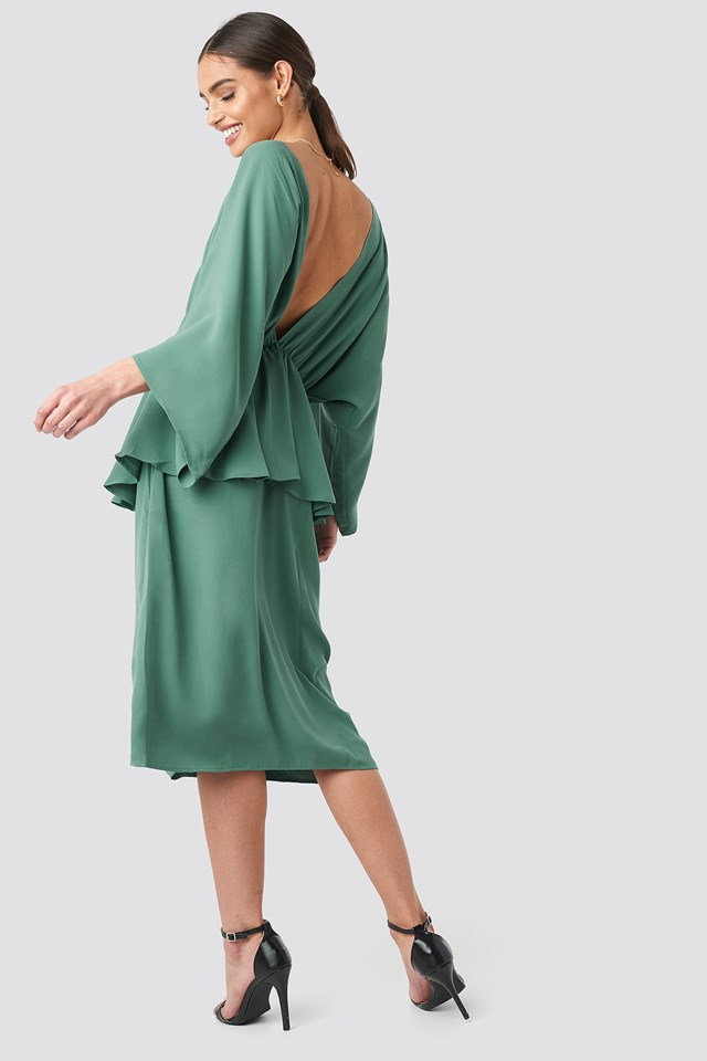 Deep Back Frill Midi Dress NA-KD Party