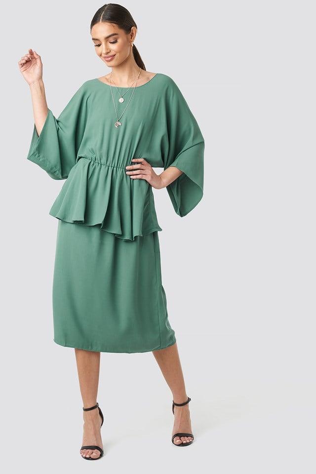 Deep Back Frill Midi Dress Green