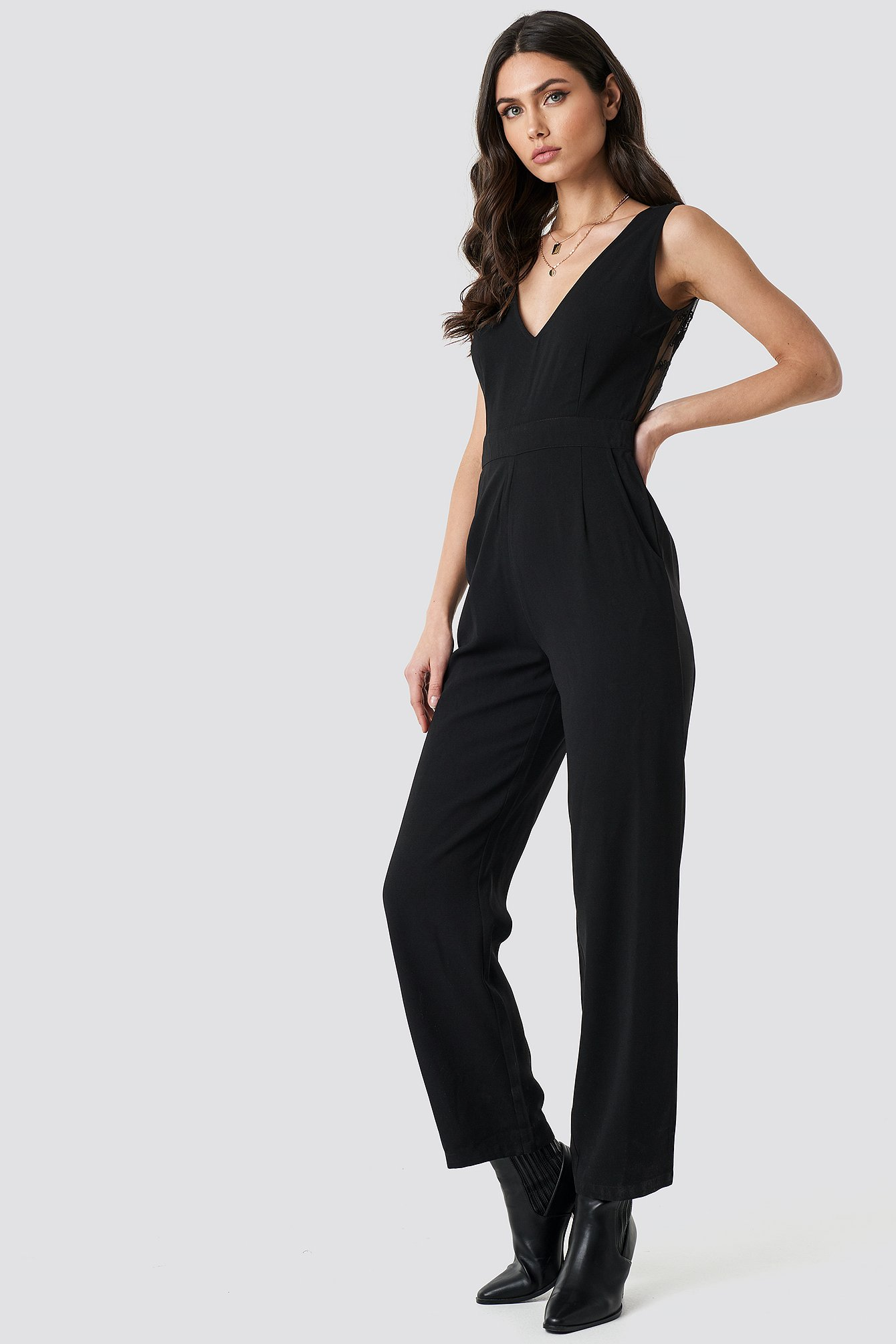 Deep Back Lace Detail Jumpsuit NA-KD.COM