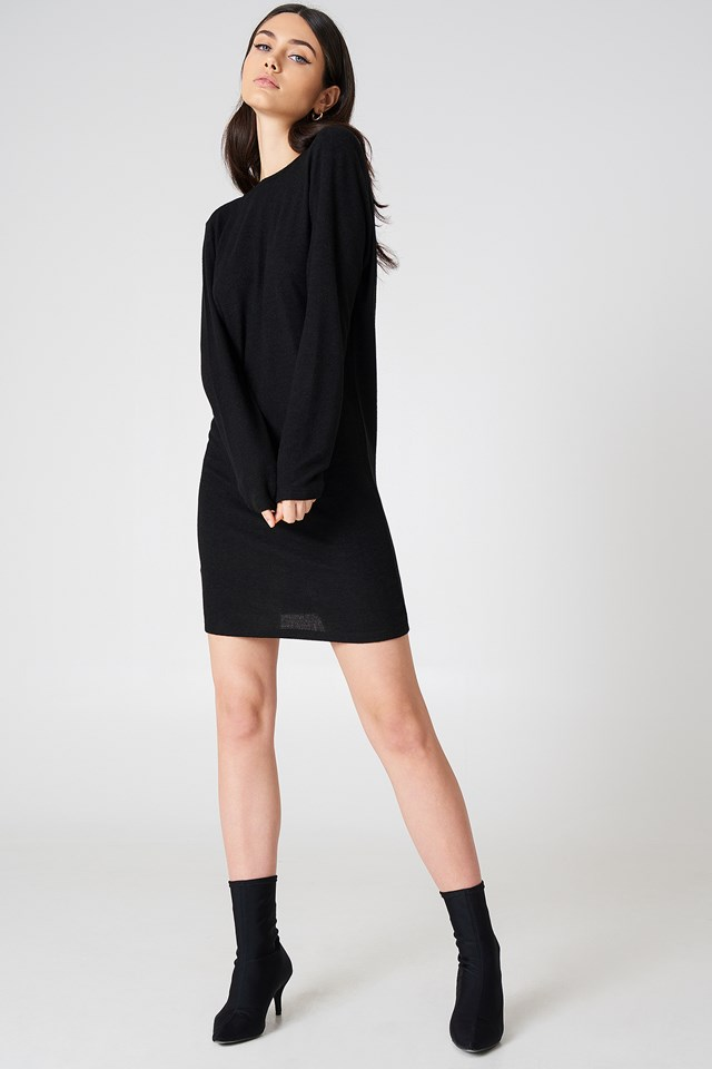 Deep Back Long Sleeve Dress Black