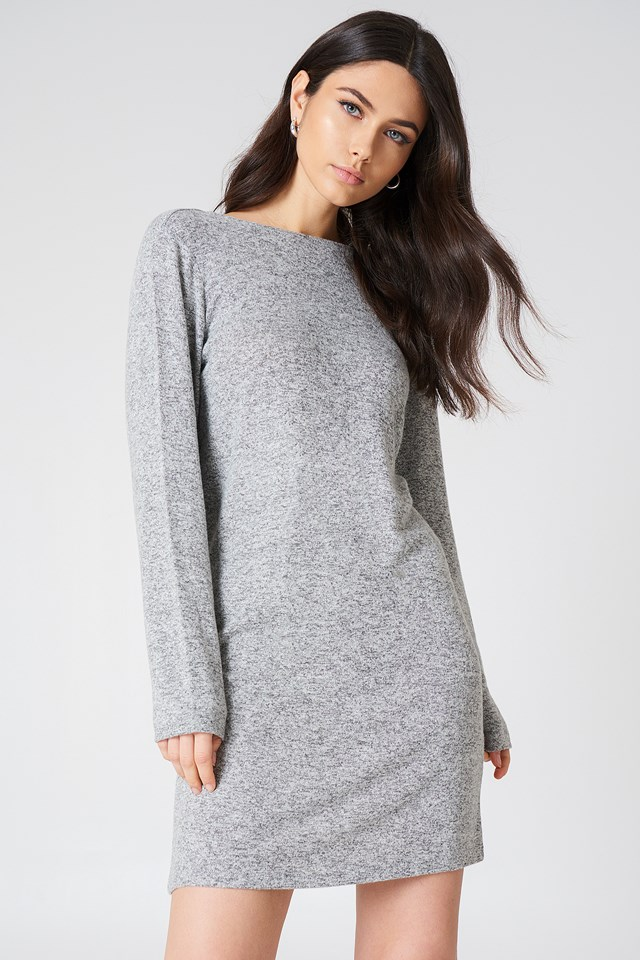 Deep Back Long Sleeve Dress Grey Melange