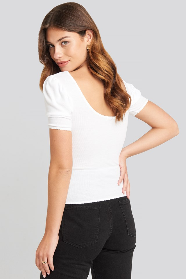 Deep Back Puff Sleeve Top White
