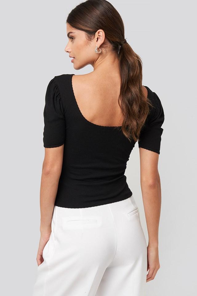 Deep Back Puff Sleeve Top Black