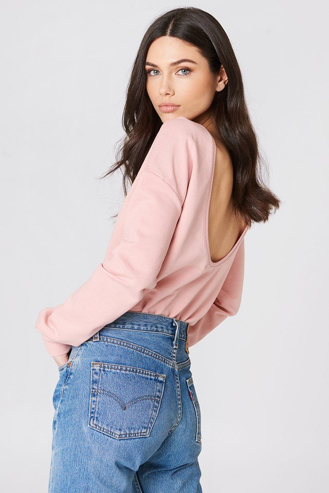 Sweter z głębokim dekoltem z tyłu Dusty Pink