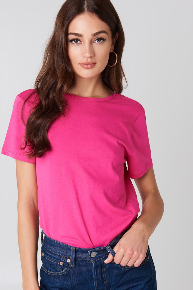 Deep Back Tee Strong pink