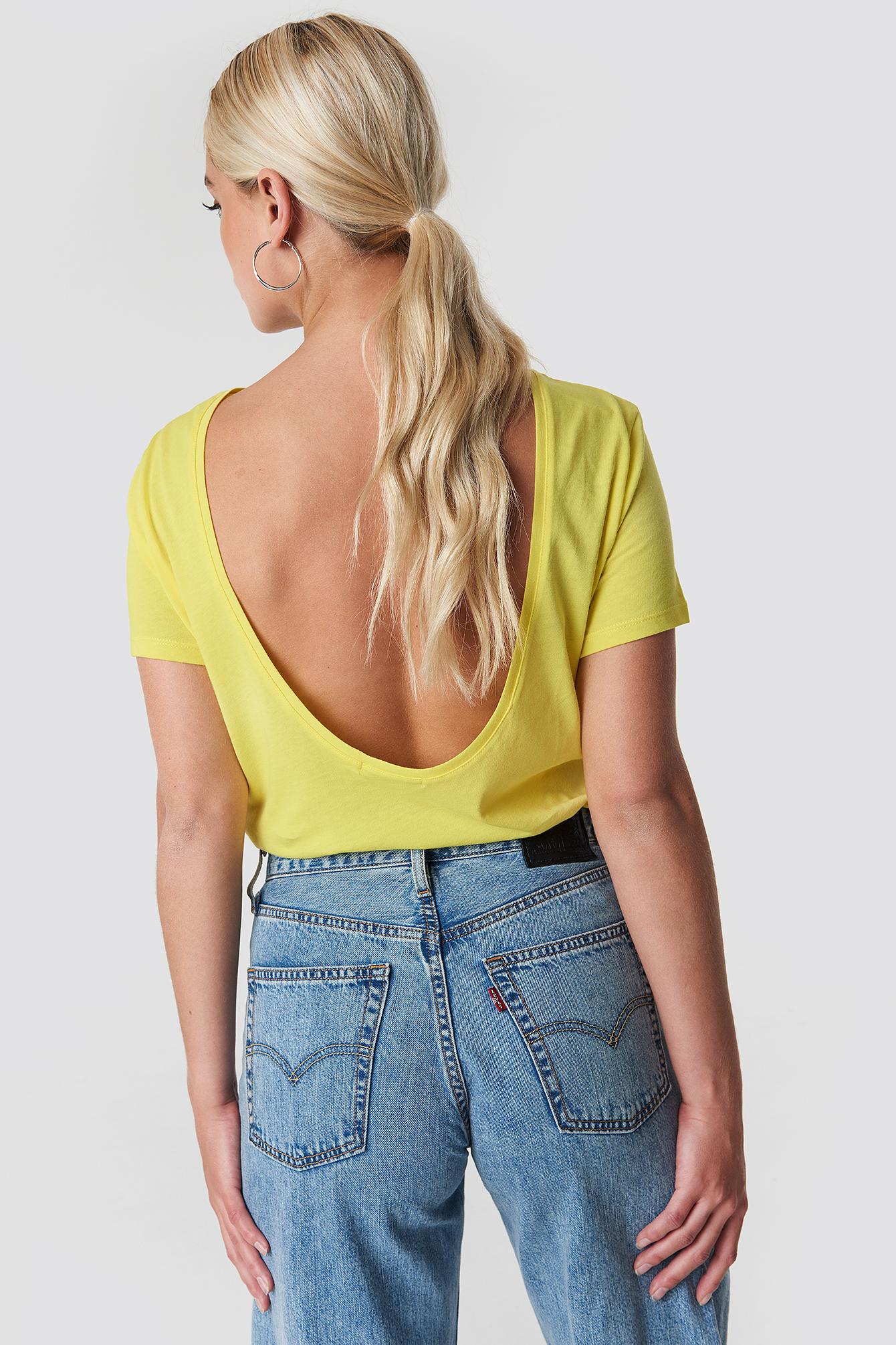 na-kd basic -  Deep Back Tee - Yellow