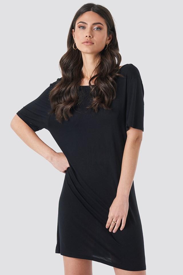 Deep Back Viscose Dress NA-KD.COM