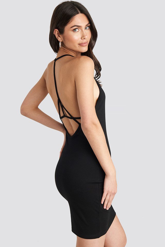 Deep Cross Back Dress Black