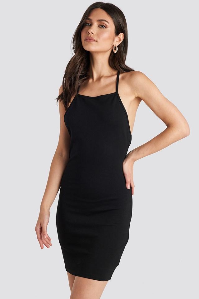 Deep Cross Back Dress Black