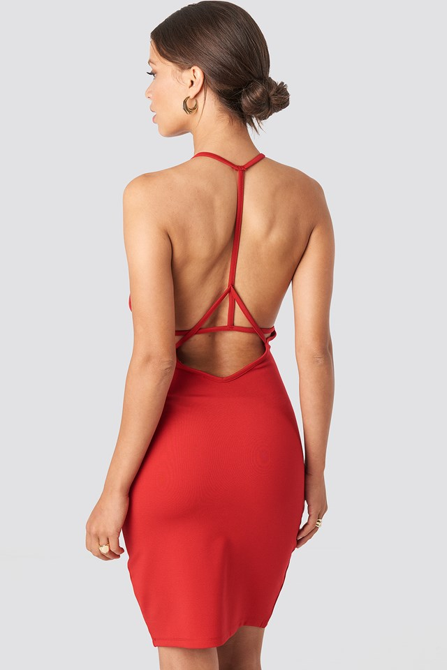 Deep Cross Back Dress Red