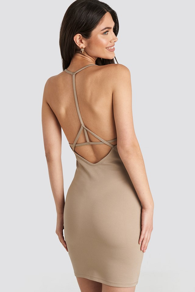 Deep Cross Back Dress Dark Beige