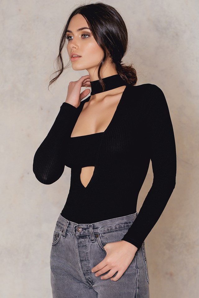 Deep Front Bandeau Choker LS Top Black