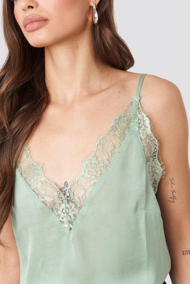 Deep Front Lace Singlet Dusty Green