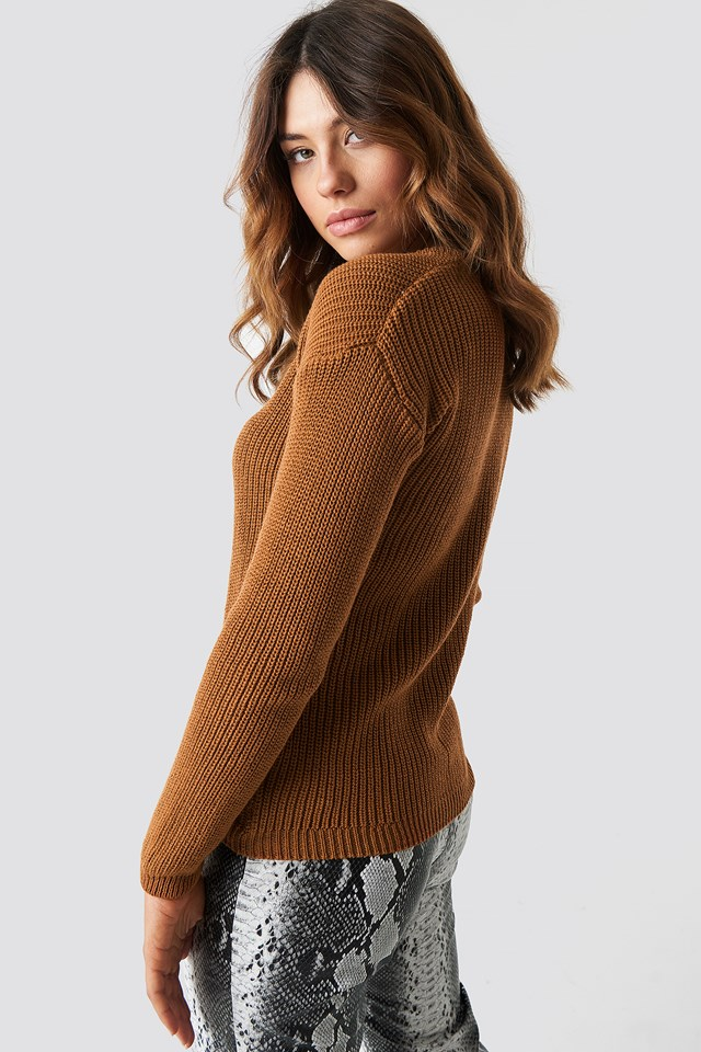 Deep Front V-neck Knitted Sweater Rust