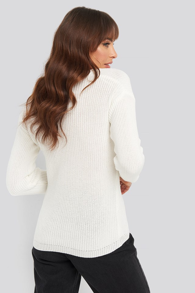 Deep Front V-neck Knitted Sweater White