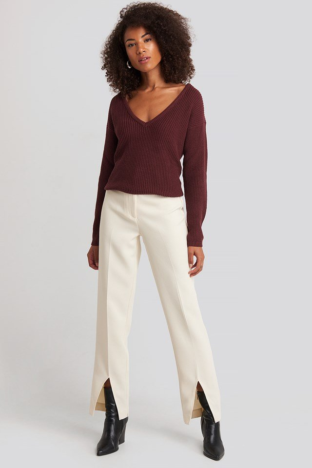 Deep Front V-neck Knitted Sweater Burgundy