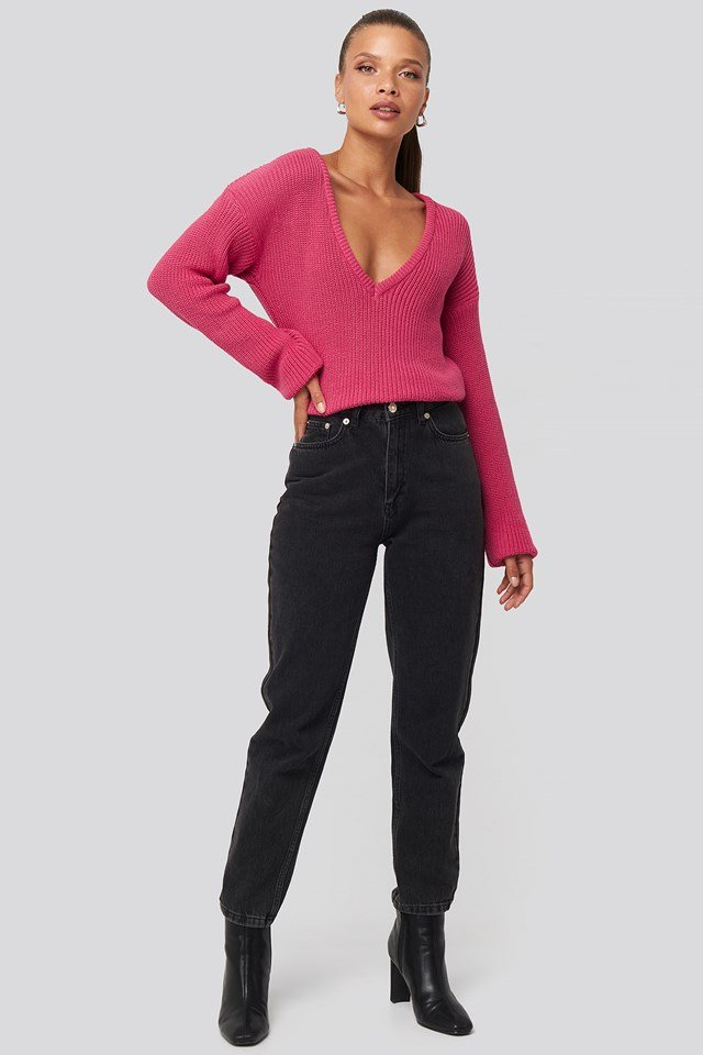 Deep Front V-neck Knitted Sweater Fuchsia