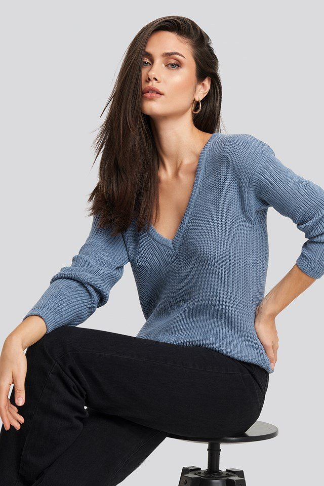 Deep Front V-neck Knitted Sweater Stone Blue