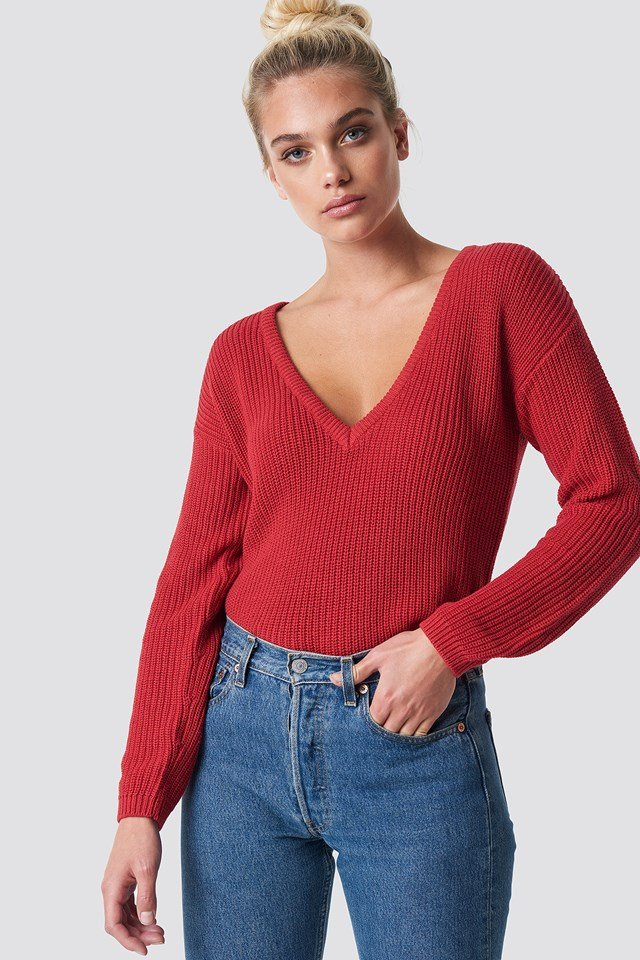 Deep Front V-neck Knitted Sweater Red