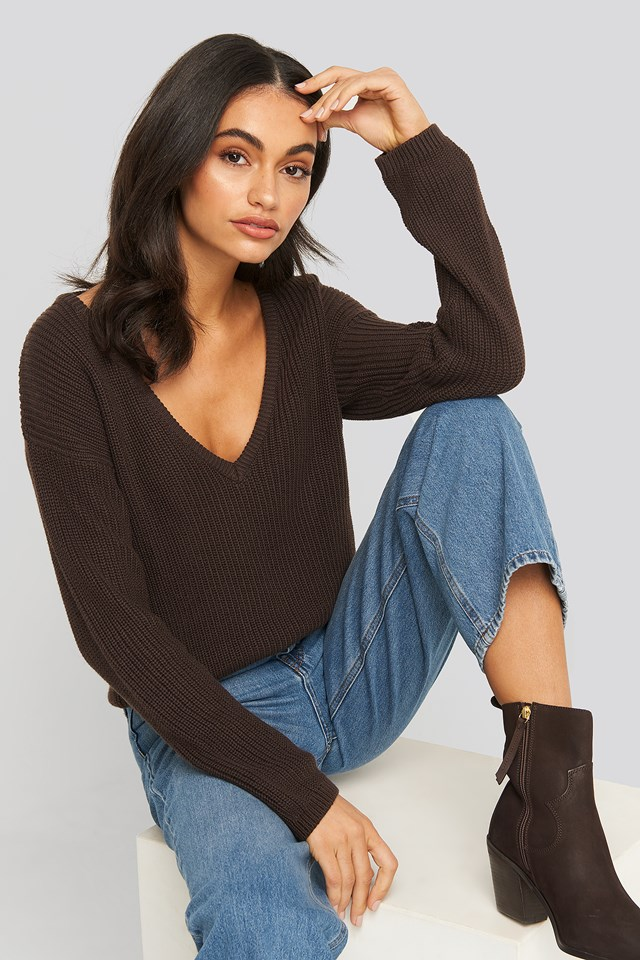 Deep Front V-neck Knitted Sweater Brown