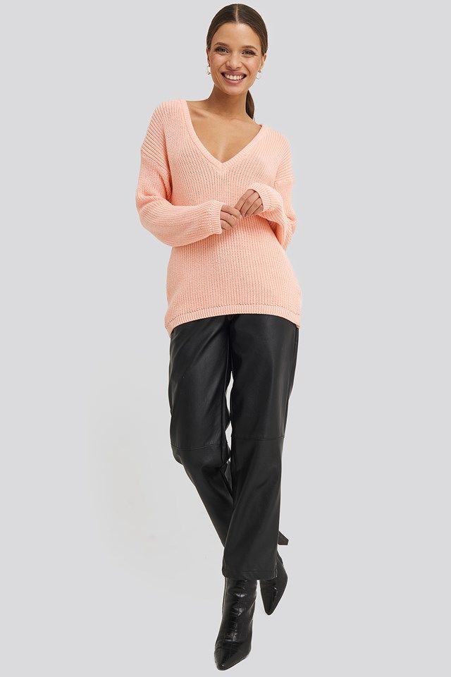Deep Front V-neck Knitted Sweater Light Pink