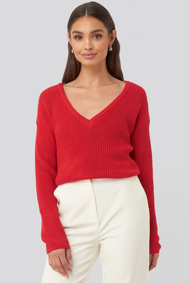 Deep Front V-neck Knitted Sweater Poppy Red